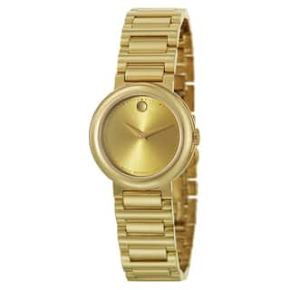 Movado Women's 0606704 'Concerto' Goldtone Stainless Steel Swiss Quartz Watch|https://ak1.ostkcdn.com/images/products/9971113/P17124067.jpg?impolicy=medium
