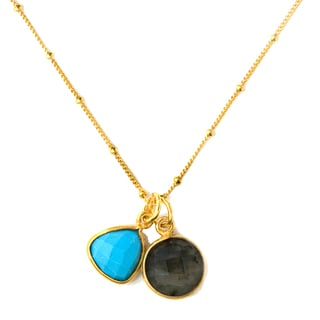 Alchemy Jewelry 22k Goldplated Turquoise and Labradorite Necklace