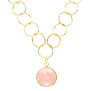 Alchemy Jewelry Gold Overlay Pink Chalcedony Gemstone Chain Link Necklace