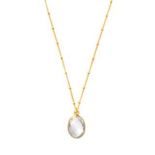 Alchemy Jewelry 22k Gold Overlay Oval Clear Quartz Necklace