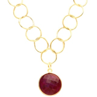 Alchemy Jewelry Gold Overlay Faceted Red Gemstone Necklace