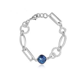 Alchemy Jewelry Silverplated Blue Cubic Zirconia Link Bracelet