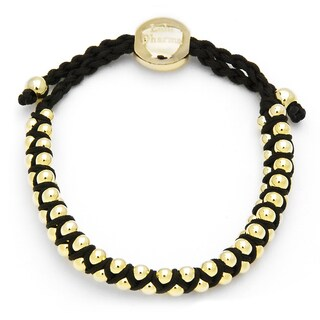 Alchemy Jewelry Goldtone Bead Black Woven Bracelet