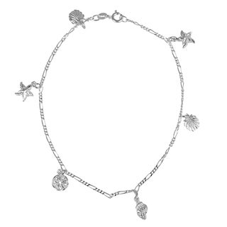 Journee Collection Sterling Silver Seashell Charm Anklet