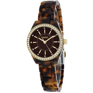 Fossil Women's BQ1196 Glitz Round Brown Resin Bracelet Watch