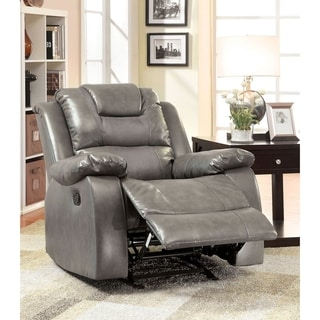 Furniture of America Embassy Grey Bonded Leather Match Glider Recliner