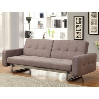 Furniture of America Sherlie Modern Brown Convertible Futon Sofa
