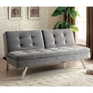 Furniture of America Baudre Modern Grey Convertible Futon Sofa