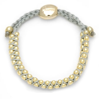 Alchemy Jewelry Goldtone Bead Light Blue Woven Bracelet
