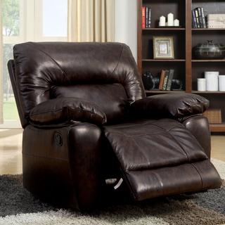Furniture of America Luena Top Grain Leather Glider Recliner