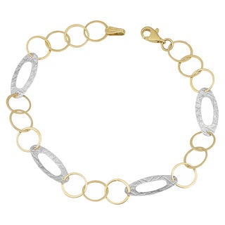 Fremada 14k Two-tone Gold Flat Oval Station Bracelet