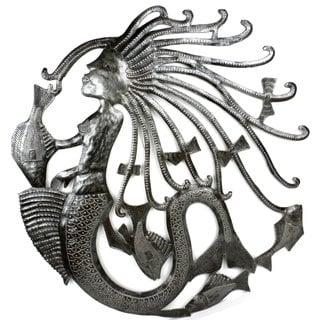 Handmade Mermaid and Fish 24-inch Metal Art (Haiti)
