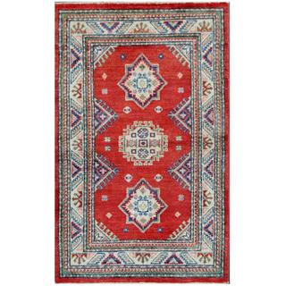 Herat Oriental Afghan Hand-knotted Tribal Kazak Red/ Ivory Wool Rug (2'6 x 4')