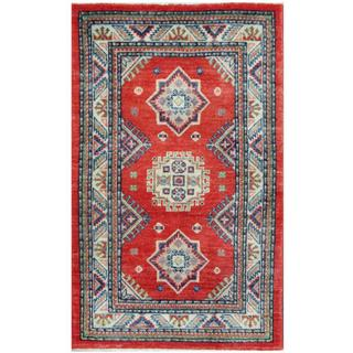 Herat Oriental Afghan Hand-knotted Tribal Kazak Red/ Ivory Wool Rug (2'5 x 3'11)