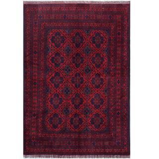 Herat Oriental Afghan Hand-knotted Tribal Khal Mohammadi Red/ Black Wool Rug (5'4 x 7'7)