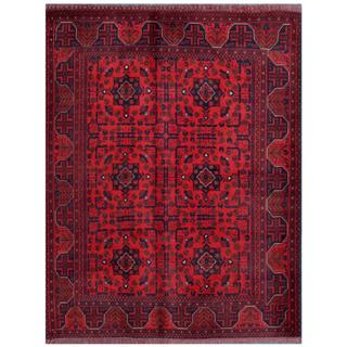 Herat Oriental Afghan Hand-knotted Tribal Khal Mohammadi Red/ Burgundy Wool Rug (5' x 6'4)