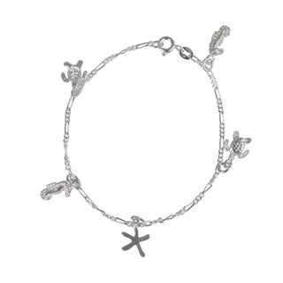 Journee Collection Sterling Silver Sea Animals Charm Bracelet