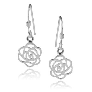 Journee Collection Sterling Silver Rose Dangle Earrings