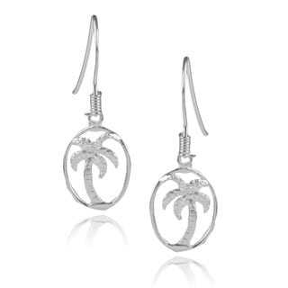 Journee Collection Sterling Silver Palm Tree Dangle Earrings
