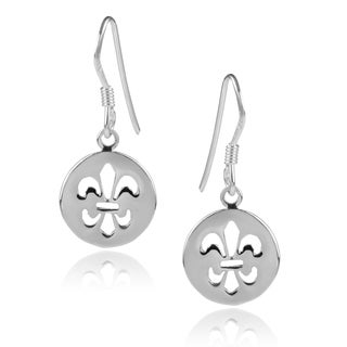 Journee Collection Sterling Silver Fleur-de-lis Round Cut-out Dangle Earrings