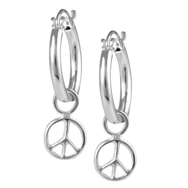 Journee Collection Sterling Silver Peace Sign 8mm Hoop Earrings