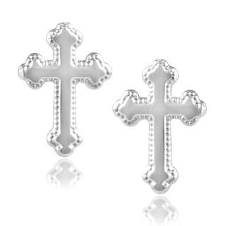 Journee Collection Sterling Silver Cross Stud Earrings