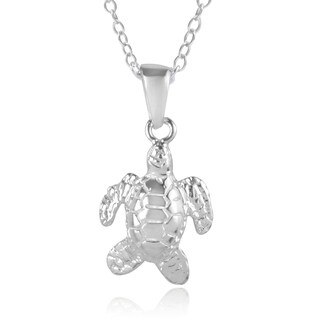 Journee Collection Sterling Silver Sea Turtle Necklace