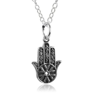Journee Collection Sterling Silver Hasma Hand Pendant