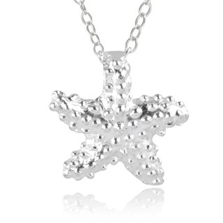 Journee Collection Sterling Silver Textured Starfish Necklace