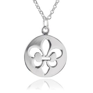 Journee Collection Sterling Silver Fleur-de-lis Pendant
