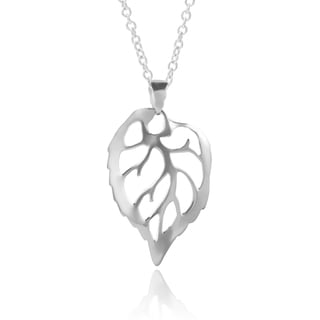 Journee Collection Sterling Silver Leaf Necklace