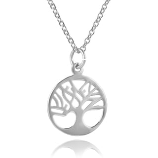 Journee Collection Sterling Silver Round Tree Necklace