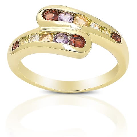 Dolce Giavonna Gold over Sterling Silver Multi-gemstone Ring