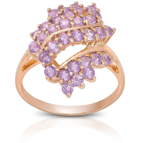 Dolce Giavonna Rose Gold over Sterling Silver Amethyst Cluster Ring