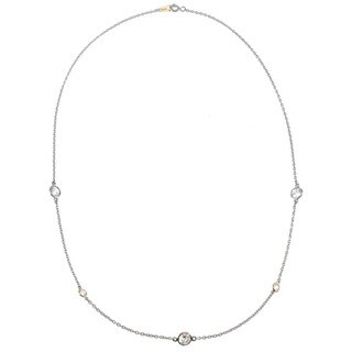 Michael Valitutti 14k Yellow Gold Palladium Silver Cubic Zirconia Necklace