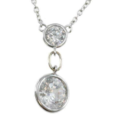 Michael Valitutti Sterling Silver and 14k Gold Cubic Zircoina Necklace