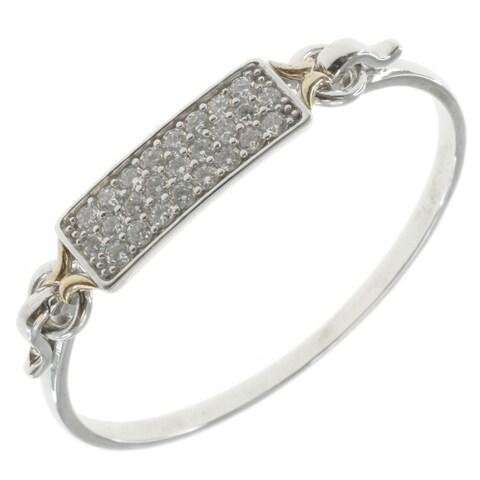 Michael Valitutti Two-tone 14k Gold over Palladium Silver Cubic Zirconia Bracelet