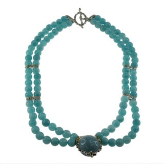 Michael Valitutti Gold Over Silver Milky Aquamarine Necklace