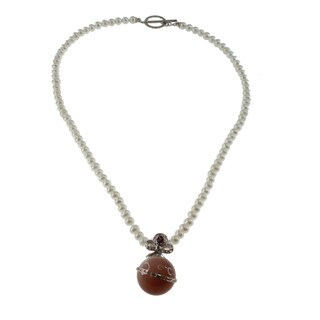 Michael Valitutti Pearl Moonstone Necklace (4-5 mm)