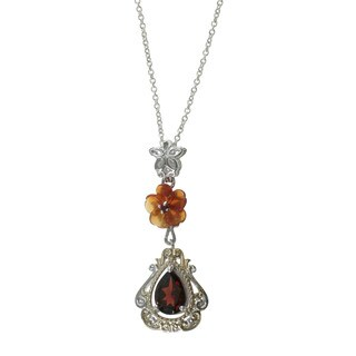 Michael Valitutti Sterling Silver Red Agate Garnet Flower Necklace