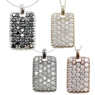 Michael Valitutti 10k Gold Cubic Zirconia Dog Tag Style Necklace|https://ak1.ostkcdn.com/images/products/9971443/P17124375.jpg?impolicy=medium