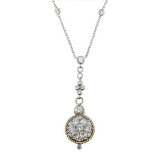 Michael Valitutti Palladium Silver Cubic Zirconia Pave Circle Dangle Necklace