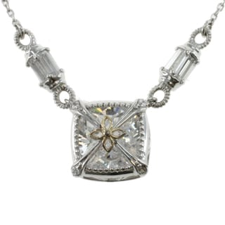Michael Valitutti 14k White Gold Cubic Zirconia Box Necklace