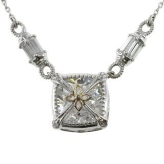 Michael Valitutti 14k White Gold Cubic Zirconia Box Necklace