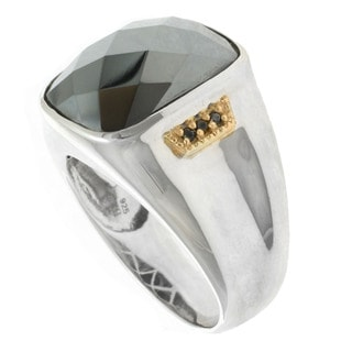 Michael Valitutti Palladium Silver Men's Hematite and White Sapphire Ring