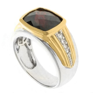 Michael Valitutti Palladium Silver Men's Garnet and White Sapphire Ring