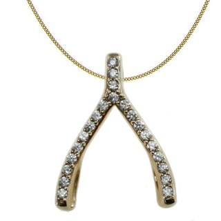 Michael Valitutti 10k Yellow Gold Cubic Zirconia Wishbone Necklace