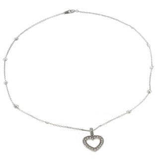Michael Valitutti 14k White Gold Cubic Zirconia Heart Necklace