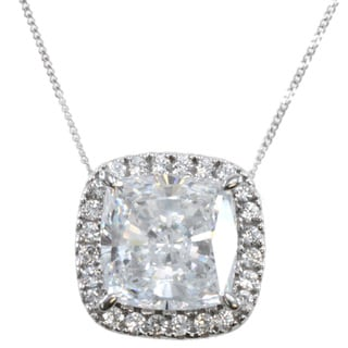 Michael Valitutti 14k White Gold Palladium Silver Cubic Zirconia Cushion Halo Pendant