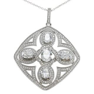 Michael Valitutti Palladium Silver Cubic Zirconia Art Deco Necklace